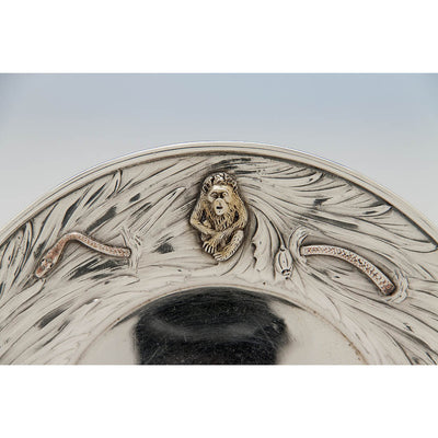 Monkey on George Shiebler Antique Sterling Silver Plate with Applied Animals, New York City, c. 1890