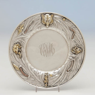 George Shiebler Antique Sterling Silver Plate with Applied Animals, New York City, c. 1890