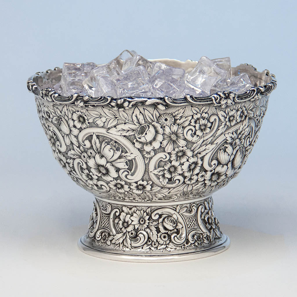 Tiffany & Co Antique Sterling Silver Repoussé Ice Bowl, New York City, c. 1880