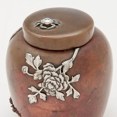 Top of Gorham Antique Copper and Applied Silver Tea Caddy, Providence, RI, 1881