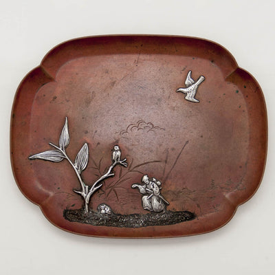 Gorham Antique Copper and Applied Silver Tray, Providence, RI, 1882