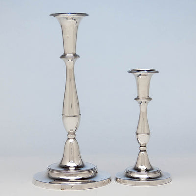 Closeup of Matthew Boulton Antique Sheffield Plate Candlesticks, Birmingham, c. 1790 - suite of 8 candlesticks