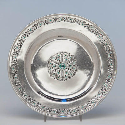 Mary Catherine Knight Arts & Crafts Sterling Silver & Enamel Plate, Boston, c. 1915