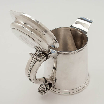 Open Eoff & Shepard Coin Silver Tankard-form Hot Beverage Jug or Pitcher bearing the Pumpelly family arms, New York City, 1852, retailed by Ball, Tompkins and Black