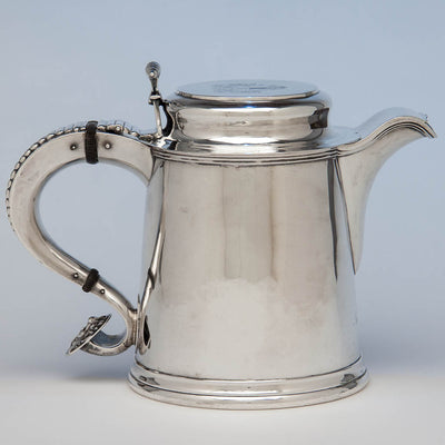 Eoff & Shepard Coin Silver Tankard-form Hot Beverage Jug or Pitcher bearing the Pumpelly family arms, New York City, 1852, retailed by Ball, Tompkins and Black