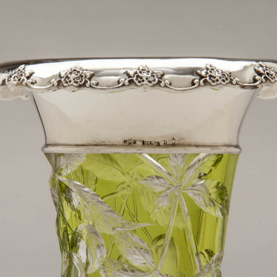 Marks on Gorham Antique Sterling Silver Mounted Glass Vase, Providence, RI, c. 1905