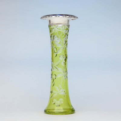 Gorham Antique Sterling Silver Mounted Glass Vase, Providence, RI, c. 1905