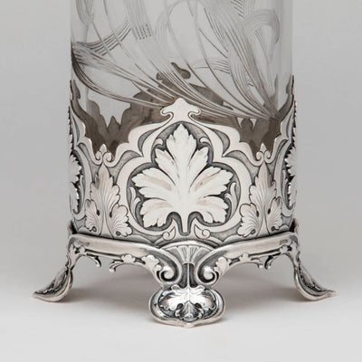 Base detail Gorham 'Athenic' Antique Sterling Silver and Cut Glass Vase, Providence, RI, 1902