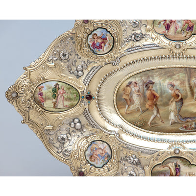 Left side of Gorham - The Dancers: Parcel-Gilt, Enameled and Semiprecious Stone Set Antique Sterling Silver Tray, design attributed to William C. Codman, executed for the 1893 World's Columbian Exposition in Chicago, Providence and New York City, c. 1893
