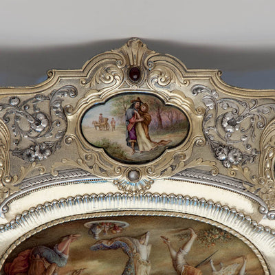 Top center enamel on Gorham - The Dancers: Parcel-Gilt, Enameled and Semiprecious Stone Set Antique Sterling Silver Tray, design attributed to William C. Codman, executed for the 1893 World's Columbian Exposition in Chicago, Providence and New York City, c. 1893