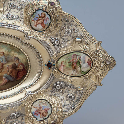 Right detail of Gorham - The Dancers: Parcel-Gilt, Enameled and Semiprecious Stone Set Antique Sterling Silver Tray, design attributed to William C. Codman, executed for the 1893 World's Columbian Exposition in Chicago, Providence and New York City, c. 1893