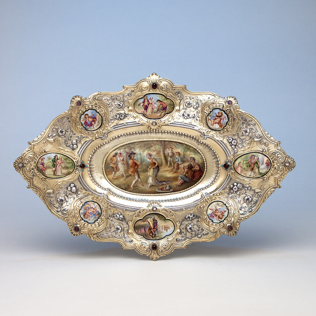 Gorham - The Dancers: Parcel-Gilt, Enameled and Semiprecious Stone Set Antique Sterling Silver Tray, design attributed to William C. Codman, executed for the 1893 World's Columbian Exposition in Chicago, Providence and New York City, c. 1893