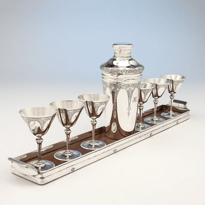 Angle view of Tiffany & Co 'Art Deco' Sterling Silver Cocktail Set, New York City, c. 1925
