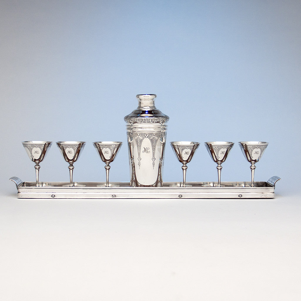 Tiffany & Co 'Art Deco' Sterling Silver Cocktail Set, New York City, c. 1925