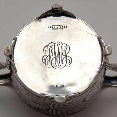 Underside of Tiffany & Co Antique Sterling Silver Dessert Creamer and Sugar, New York City, 1883-91