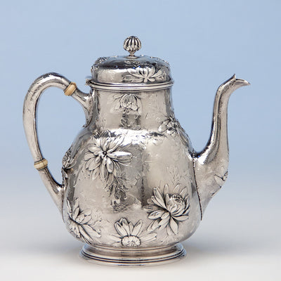 Coffee pot to Gorham Rare Antique Sterling Silver 'Japanese' Coffee Service chased by Subero Yamamoto, Providence, RI, 1906