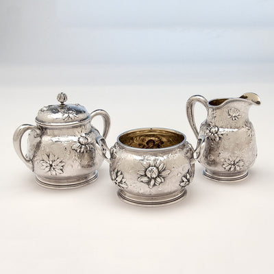 Creamer, sugar and waste to Gorham Rare Antique Sterling Silver 'Japanese' Coffee Service chased by Subero Yamamoto, Providence, RI, 1906