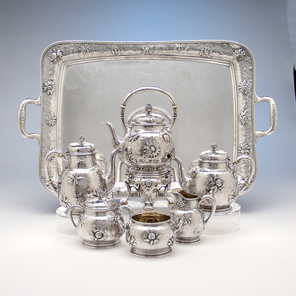 Gorham Rare Antique Sterling Silver 'Japanese' Coffee Service chased by Subero Yamamoto, Providence, RI, 1906