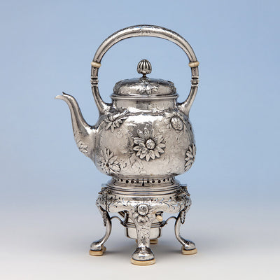 Kettle on stand to Gorham Rare Antique Sterling Silver 'Japanese' Coffee Service chased by Subero Yamamoto, Providence, RI, 1906