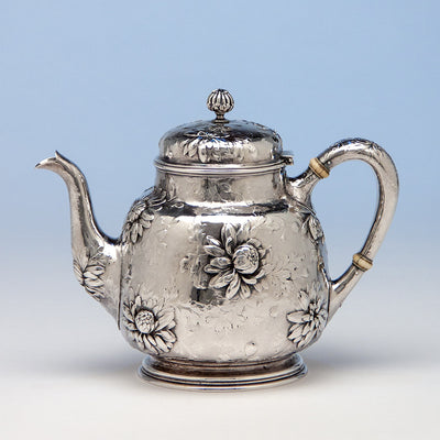 Tea pot to Gorham Rare Antique Sterling Silver 'Japanese' Coffee Service chased by Subero Yamamoto, Providence, RI, 1906
