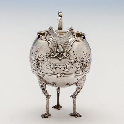 Front view of creamer to Gorham 'Chicken-leg' or 'Mary Todd Lincoln' Antique Coin Silver Tête-à-Tête Tea Set, Providence, RI, 1862