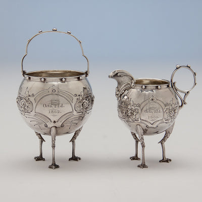 Creamer and sugar to Gorham 'Chicken-leg' or 'Mary Todd Lincoln' Antique Coin Silver Tête-à-Tête Tea Set, Providence, RI, 1862