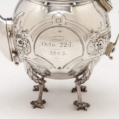 Inscription on Gorham 'Chicken-leg' or 'Mary Todd Lincoln' Antique Coin Silver Tête-à-Tête Tea Set, Providence, RI, 1862