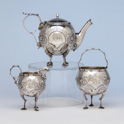 Gorham 'Chicken-leg' or 'Mary Todd Lincoln' Antique Coin Silver Tête-à-Tête Tea Set, Providence, RI, 1862