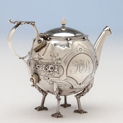 Pot to Gorham 'Chicken-leg' or 'Mary Todd Lincoln' Antique Coin Silver Tête-à-Tête Tea Set, Providence, RI, 1862