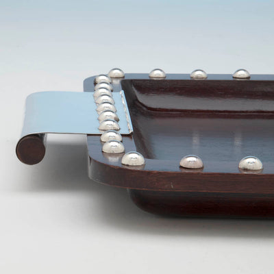 Handle to Puiforcat Art Deco Mahogany and Sterling Silver Tray, Mexico, 1942-45