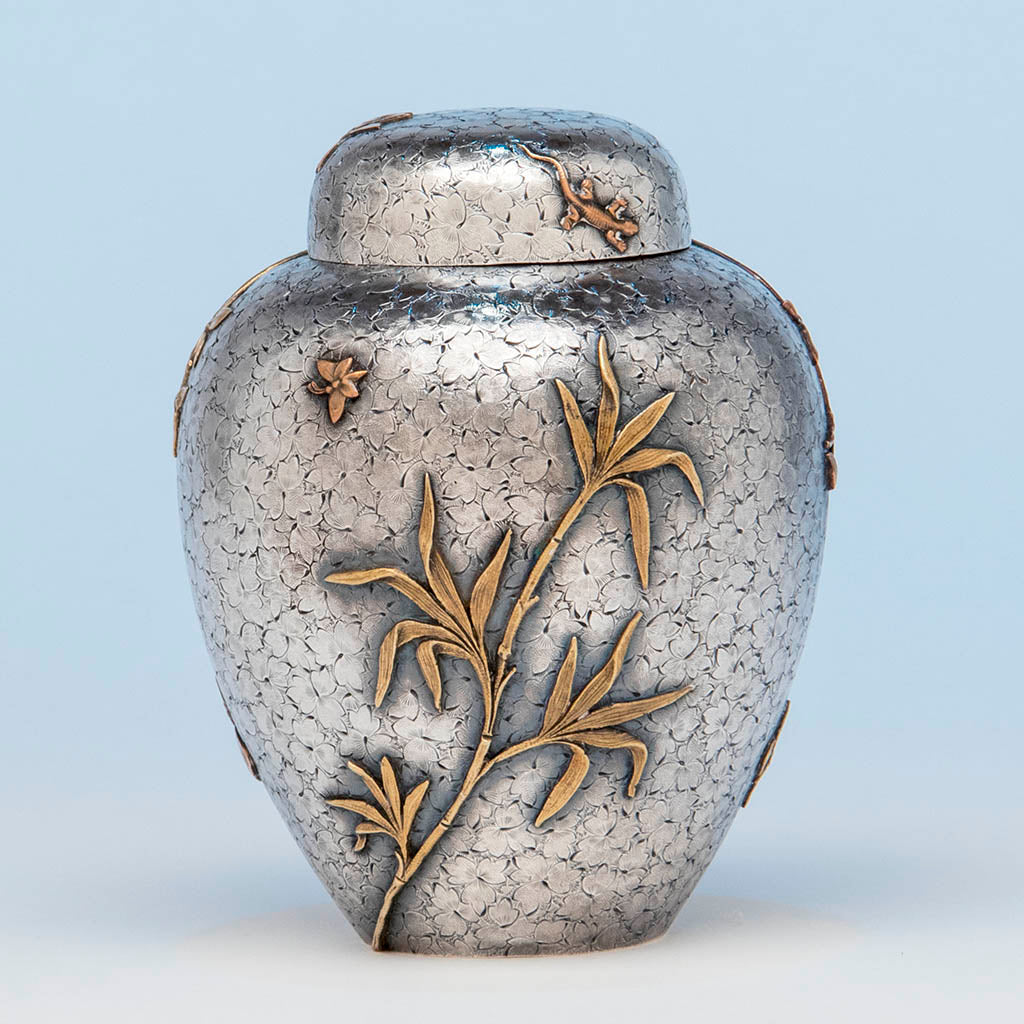 Dominick & Haff Antique Sterling Silver and Mixed Metal Tea Caddy, NYC, 1880