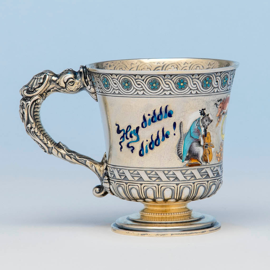 Gorham Antique Sterling Silver and Enamel Nursery Rhyme Child's Cup, Providence, RI, 1894