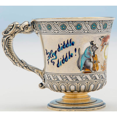 Closeup of Gorham Antique Sterling Silver and Enamel Nursery Rhyme Child's Cup, Providence, RI, 1894