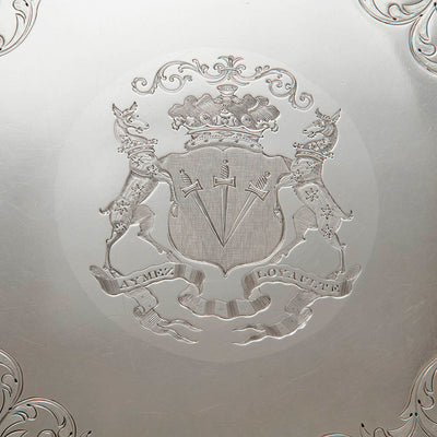 Arms on Antique Sheffield Plate Massive Round Waiter belonging to the Duke of Bolton, Sheffield, c. 1830