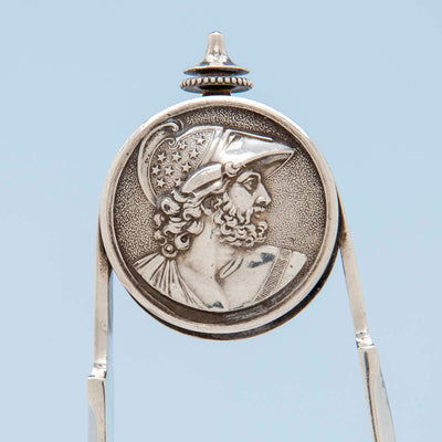 Male medallion on Gorham 'Medallion' Pattern Antique Sterling Silver Ice Tongs, Providence, RI, c. 1870's