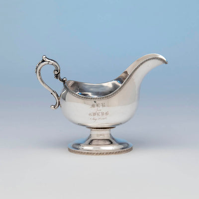 Francis W. Cooper Antique Coin Silver Gravy Boat, New York City, 1863