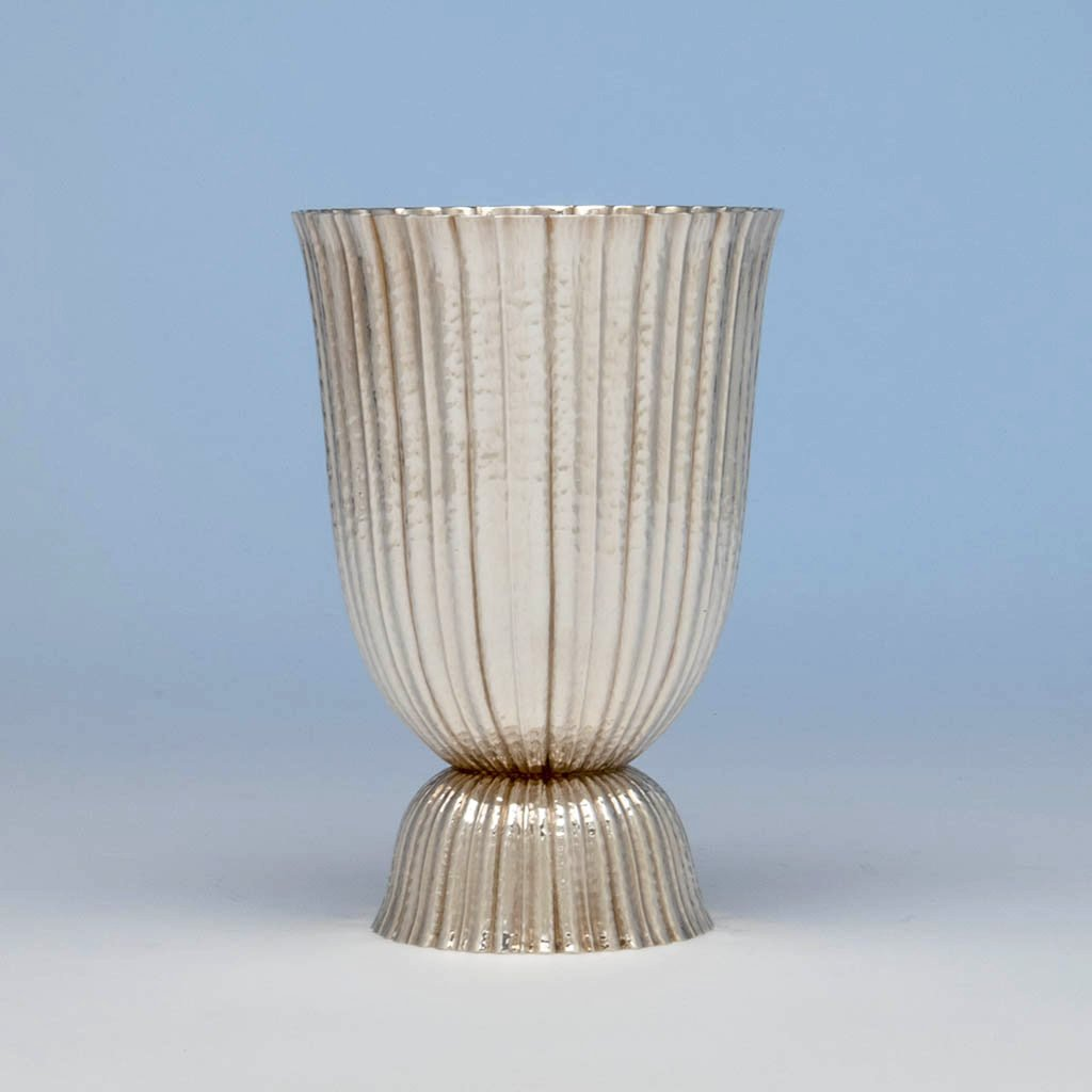 Josef Hoffmann (designed by) Austrian Silver Plated Vase, made by the Wiener Werkstätte, c. 1920's