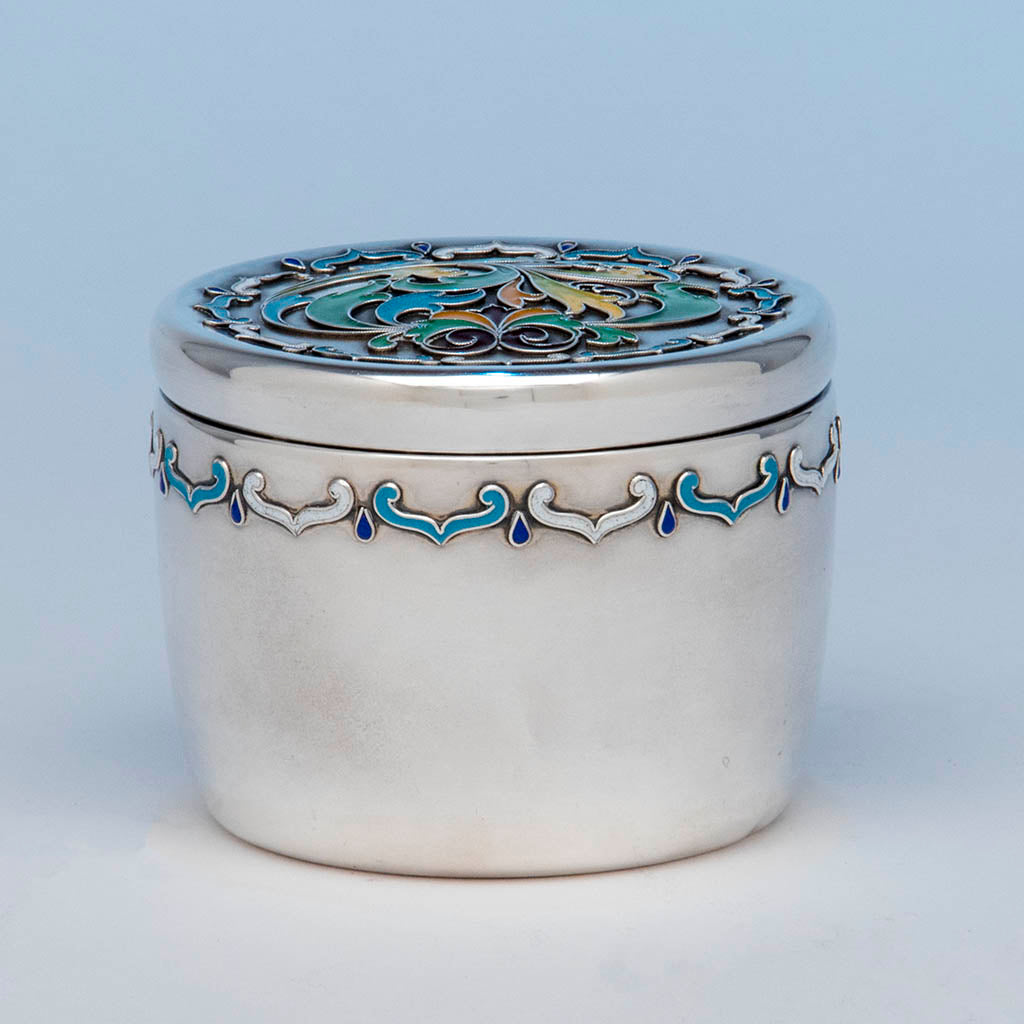 Whiting Antique Sterling Silver with Enamel Box, NYC, c. 1900