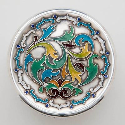 Top view of Whiting Antique Sterling Silver with Enamel Box, NYC, c. 1900