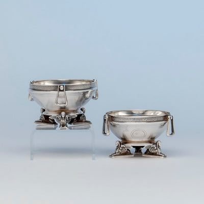 Gorham Pair of Coin Silver Figural Master Salts, Providence, RI, c. 1865