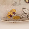 Gold & enamel flowers on Tiffany and Co Sterling Silver and Other Metals Pitcher, NYC, c. 1870's