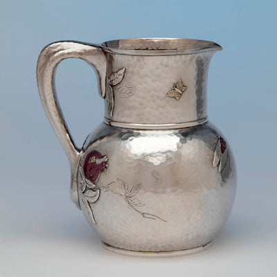 Reverse of Tiffany and Co Sterling Silver and Other Metals Pitcher, NYC, c. 1870's