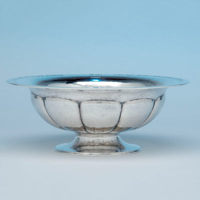 Karl Leinonen Arts and Crafts Sterling Silver Presentation Trophy Bowl, Boston, MA, 1928