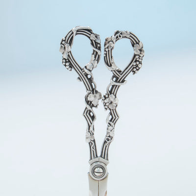 Handle to Tiffany and Co Antique Sterling Silver 'Vine' Pattern Grape Shears, NYC, NY, c. 1869