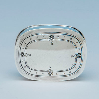 Cover to Arthur Stone Sterling Silver Arts & Crafts Pill Box, Gardner, MA, c. 1910