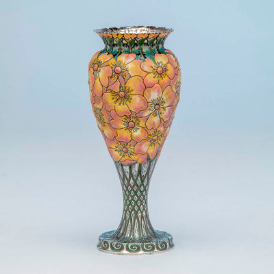 "View 4 of Tiffany & Co - The ""Moss-Roses"" Vase, 1893 Columbian Exhibition Sterling Silver and Enamel Vase, design attributed to John T. Curran, c. 1893"