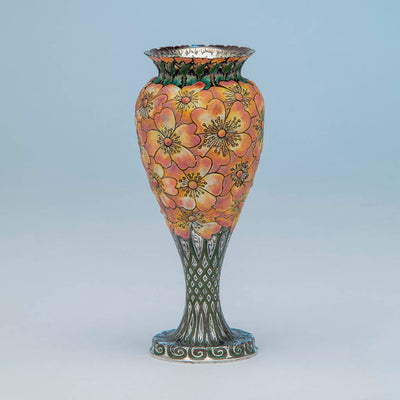 "View 2 of Tiffany & Co - The ""Moss-Roses"" Vase, 1893 Columbian Exhibition Sterling Silver and Enamel Vase, design attributed to John T. Curran, c. 1893"