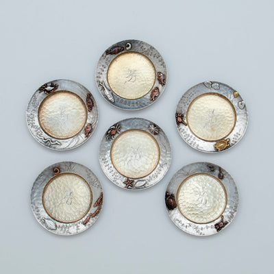 Tiffany Set of 6 Sterling Silver Mixed Metal Butter Pats, NYC, NY, c. 1880