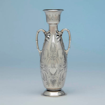 William Gale(attr) Antique Sterling Silver Vase, NYC, NY, c. 1870's