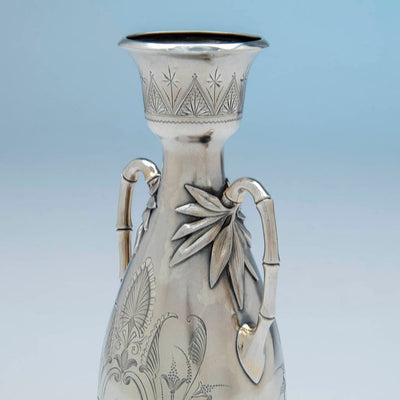 Handles to William Gale(attr) Antique Sterling Silver Vase, NYC, NY, c. 1870's